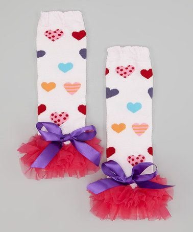 Love this Pink & Purple Bow Heart Ruffle Leg Warmers by Zuzu's Petals on #zulily! #zulilyfinds http://www.zulily.com/invite/kcrim608