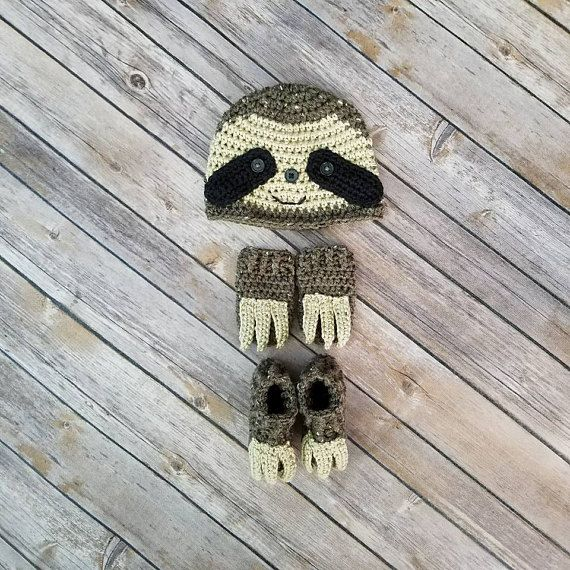 529c679389e1b Baby Sloth Outfit | Baby Sloth Costume | Sloth Hat | Sloth Claws | Sloth  Photo Prop | Newborn Photog