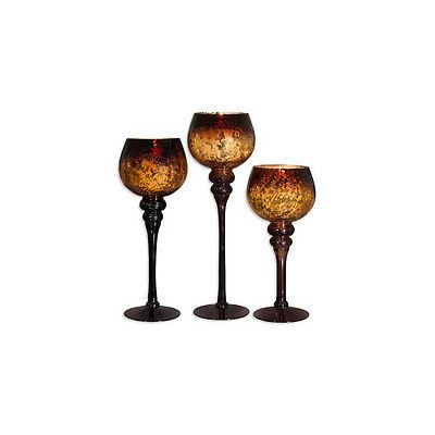 Set of 3 UNITS Home Essentials Mercury Chocolate Hurricanes Candle Holders