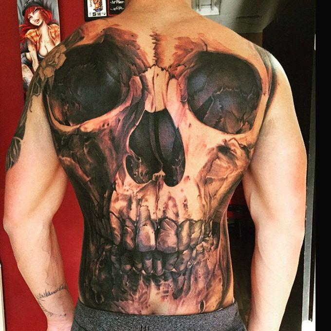 Skull Full Back Tattoo Art Skulls Pinterest Tattoos Back