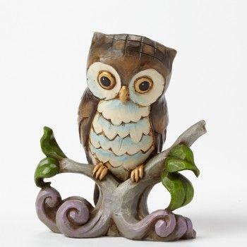 Mini Owl On Branch Figurine Owl Decor Owl Bird Owl Art