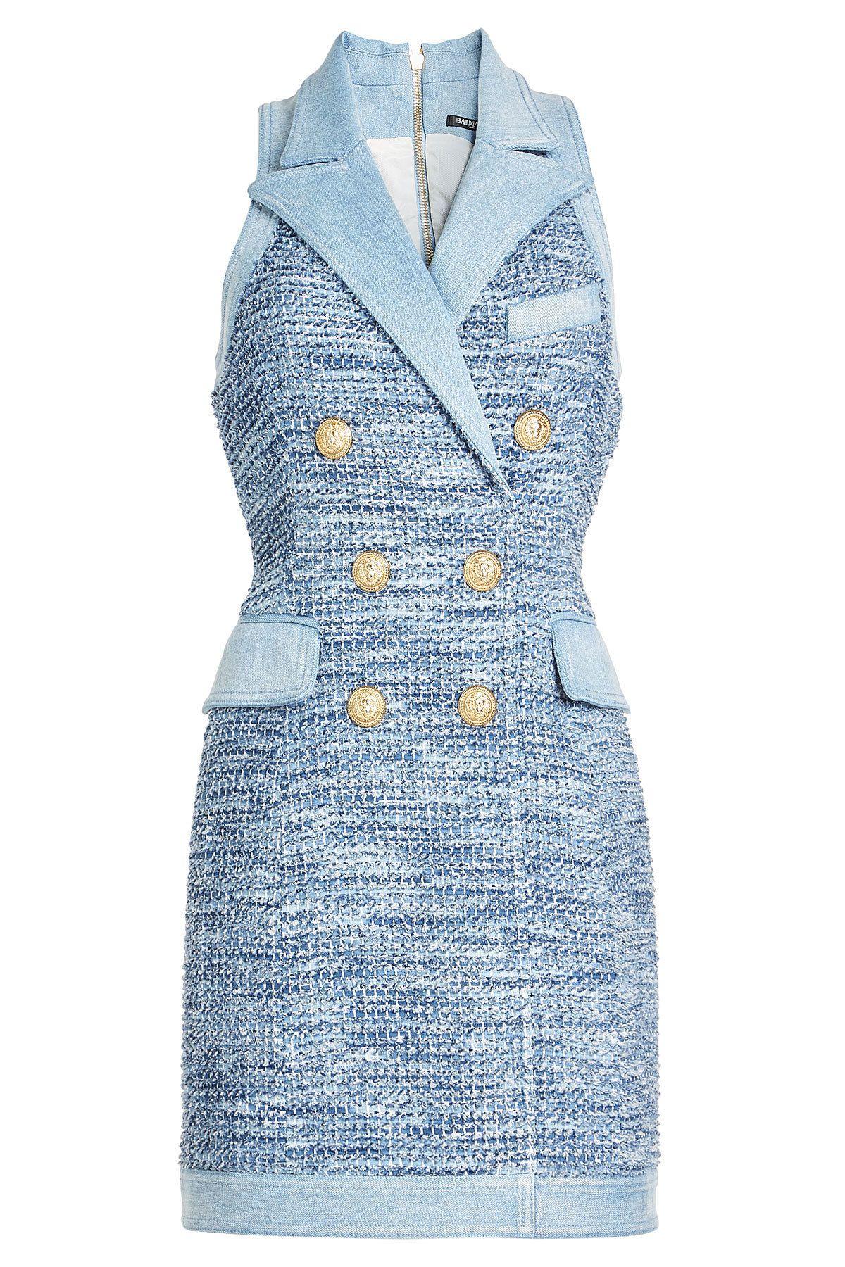 Balmain - Bouclé Dress with Denim