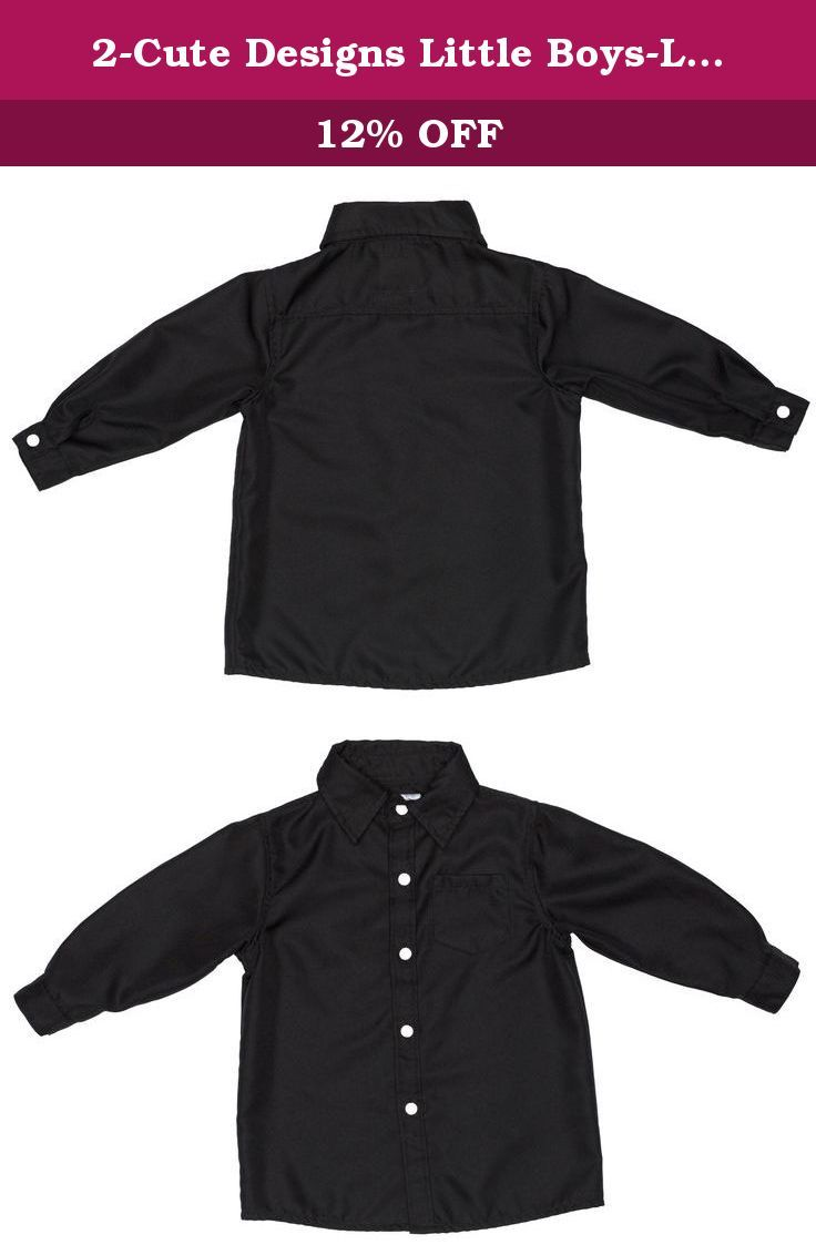 2 Cute Designs Little Boys Long Sleeve Dress Shirt 2t Black