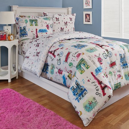 Kidz Mix Paris Eiffel Tower Hearts Reversible Comforter Set By Kidz Mix Multicolor Kids Comforter Sets Comforter Sets Kids Comforters
