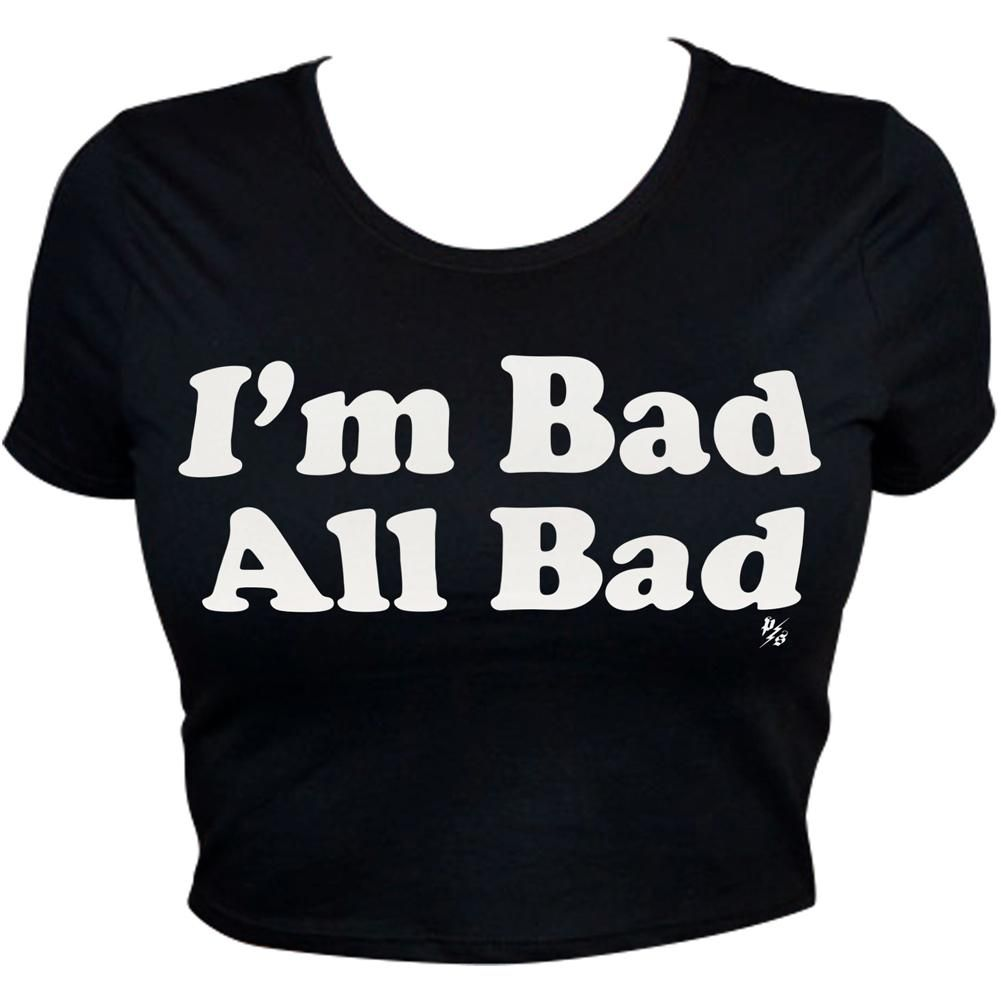 women's pinky star i'm bad all bad crop top black | boutique, star