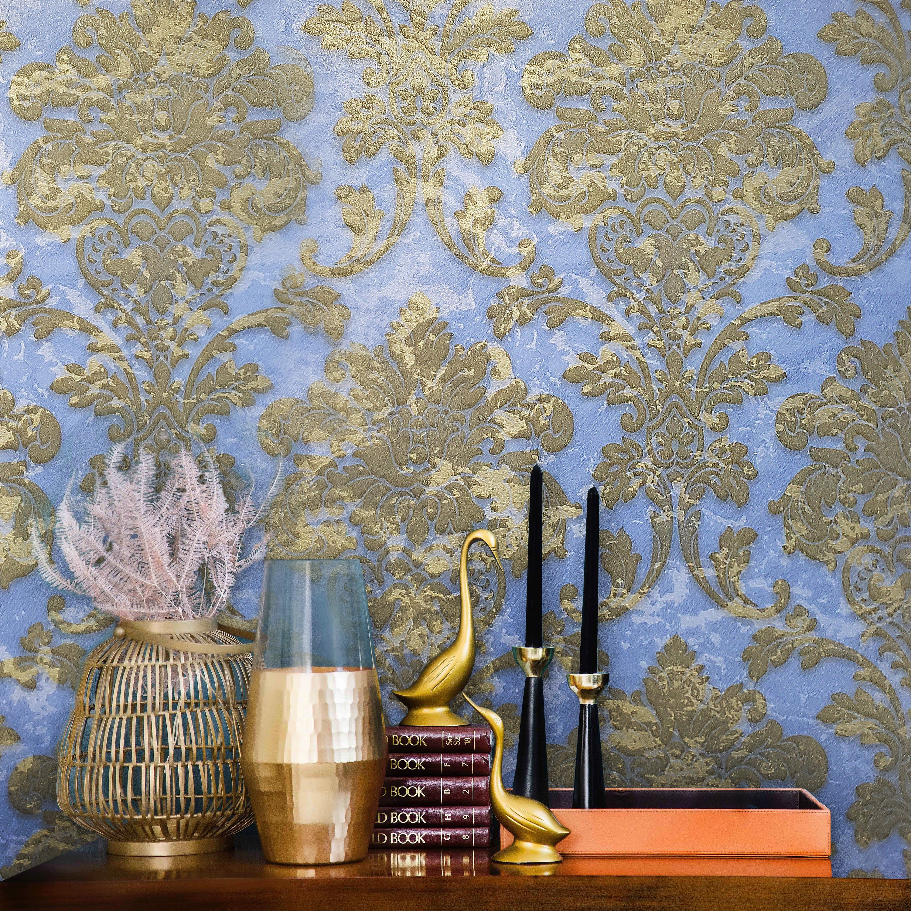 Wallpaper textured wall coverings victorian Damask Rose Gold Pink metallic rolls