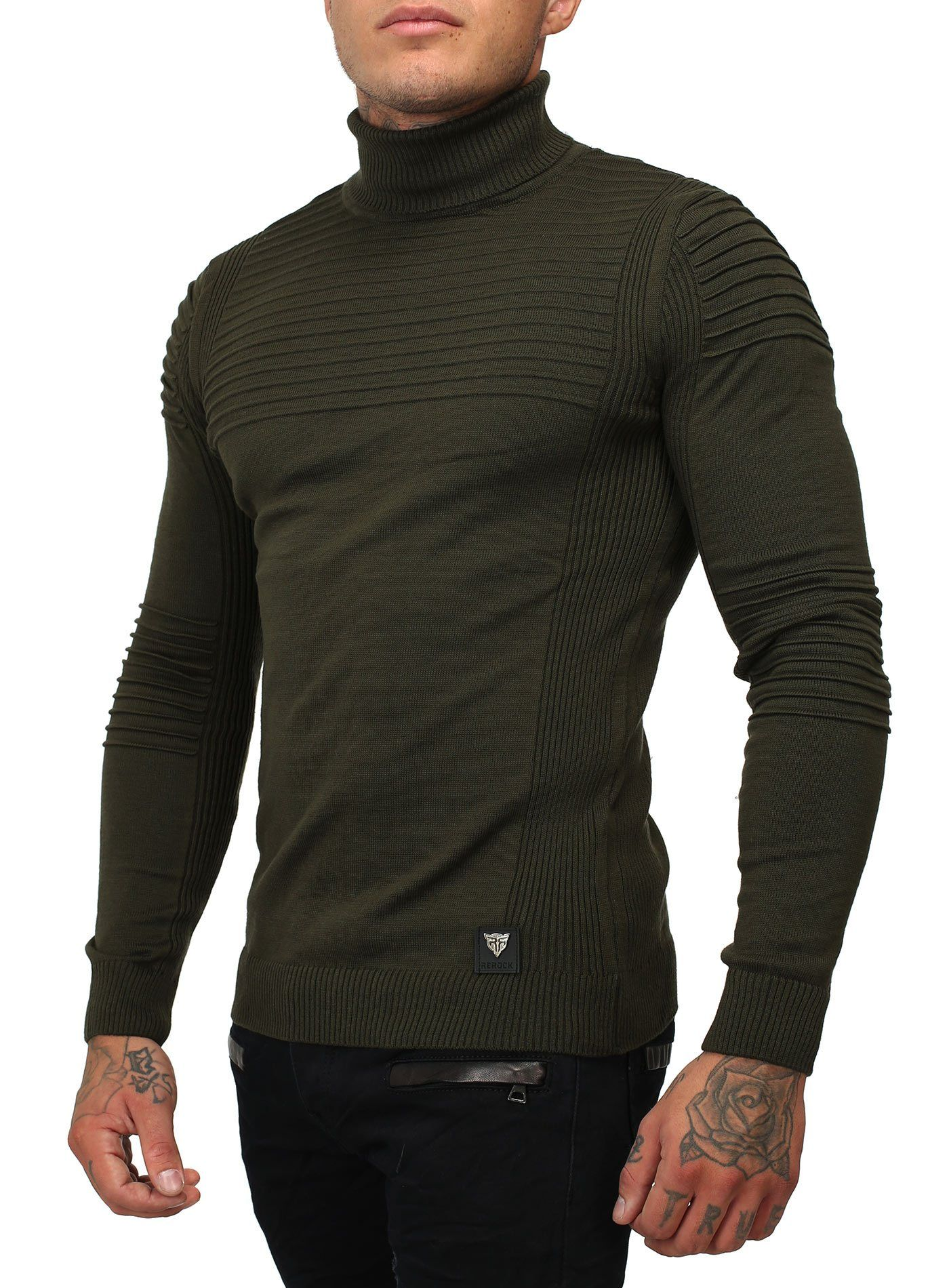 R&R Men Stylish Turtle Neck Ribbed Sweater Green | Mens