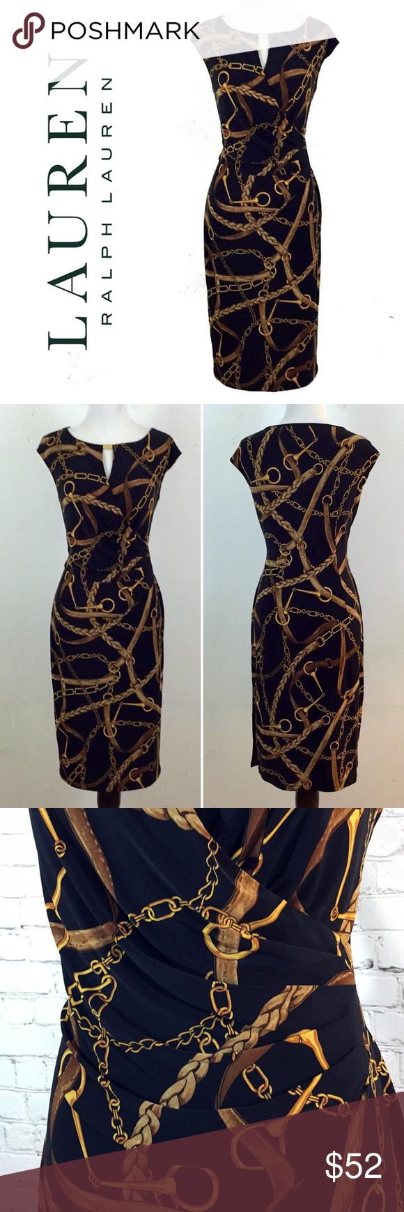 Ralph Lauren Black Gold Chain Print Keyhole Dress Keyhole Dress Black Gold Chain Dresses [ 1740 x 580 Pixel ]