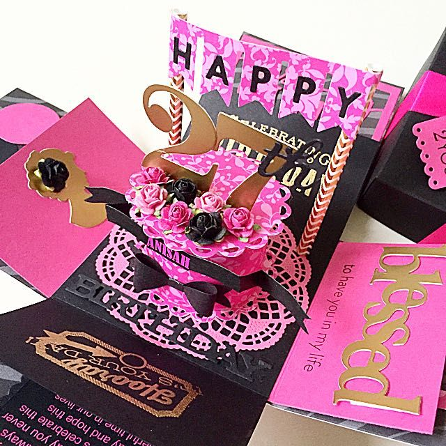 Happy 27th Birthday Explosion Box Card In Black And Hot ...
