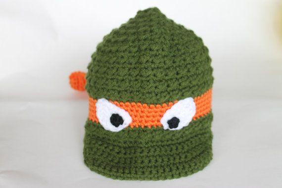 3da15b1f7cf Orange Ninja Turtle Newsboy Hat size 1 to 3 yrs by Stay Home Stitchings