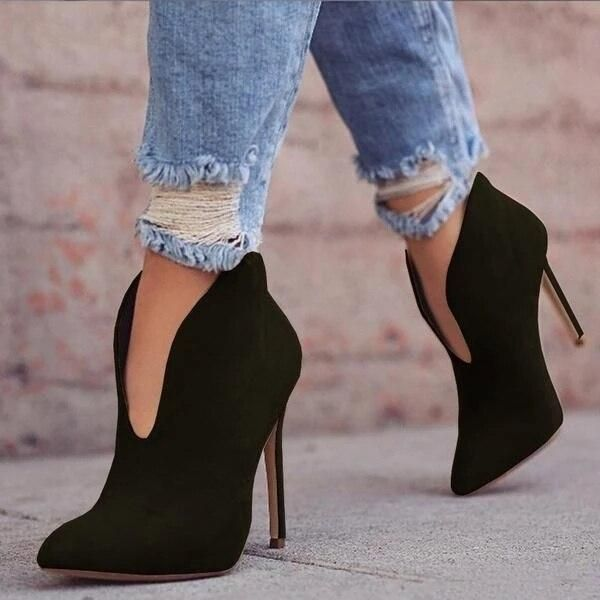Sexy Women Boots 2019 Autumn V-Neck High Heels Ankle Shoes Boots Leather Booties Feminina Woman Wedding Party Shoes