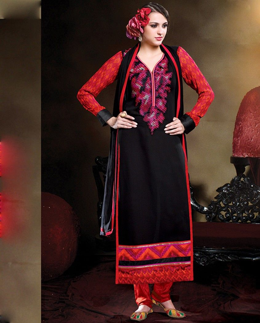 Black and red long suit with embellished yoke black and red