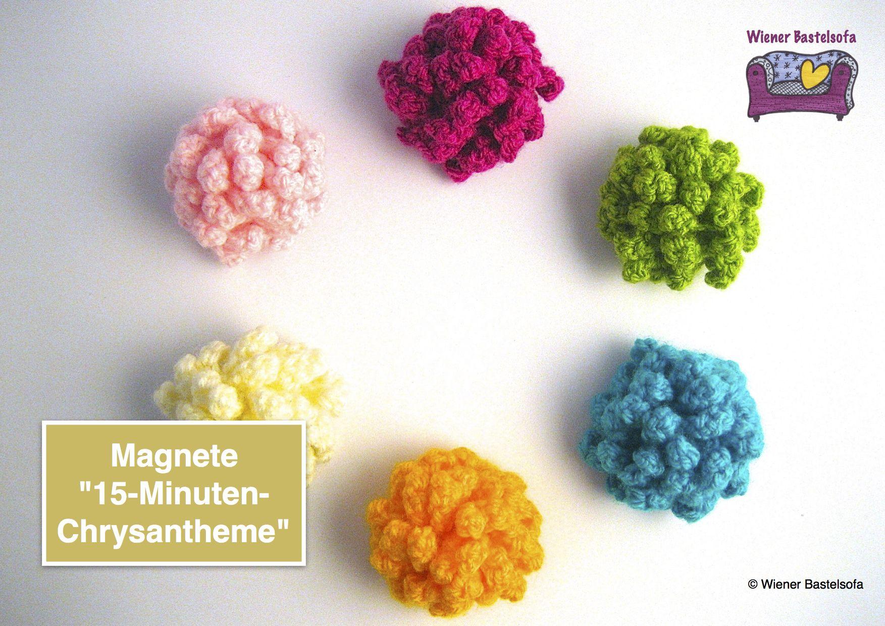 Freebie, Anleitung, Magnete 15-Minuten-Chrysantheme, häkeln ...