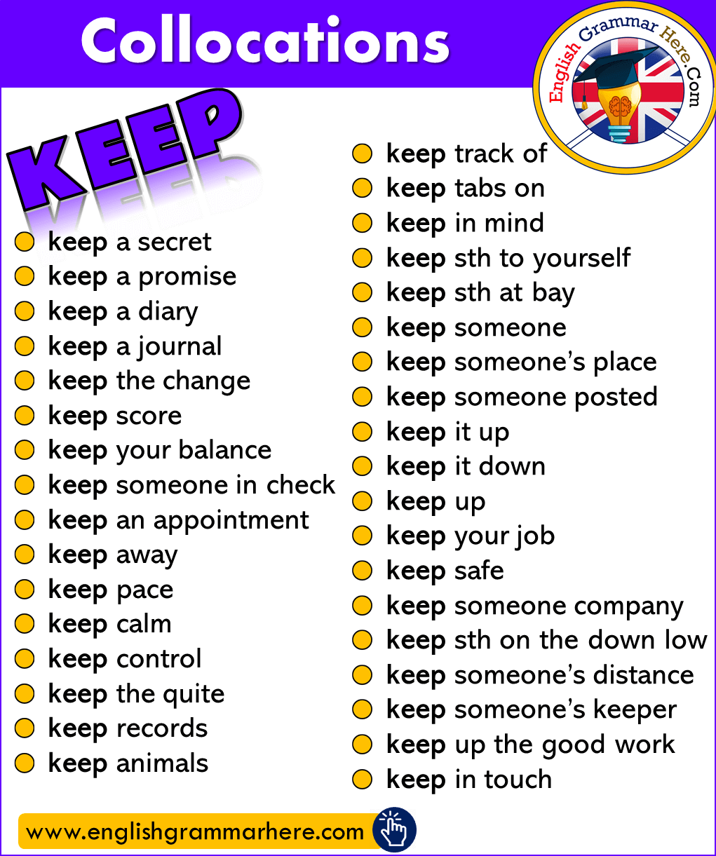 English Phrases Examples; Collocations with KEEP in