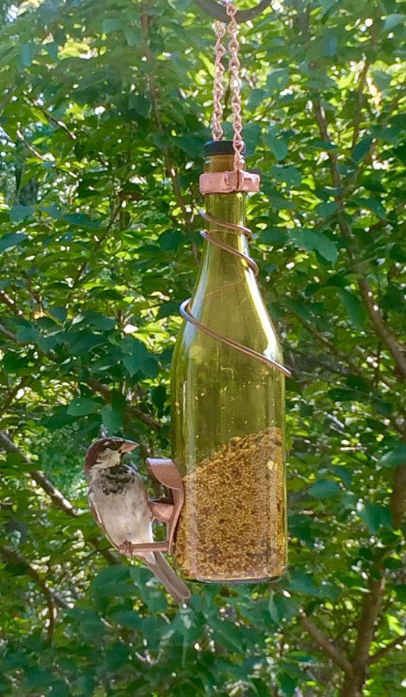 Yellow And Copper Wine Bottle Bird Feeder   Gift For Mom   Outdoor   Patio