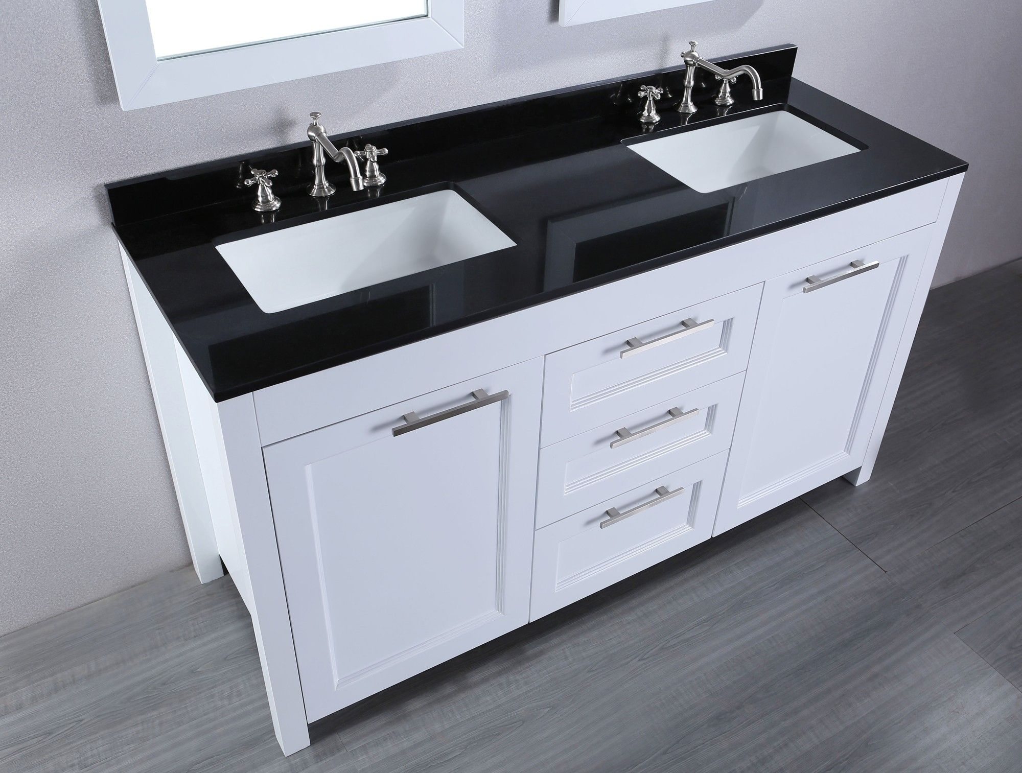 BathroomDesign Bathroom Onyx Black Granite Vanity Countertops Under Framed Mirrors Exquisite