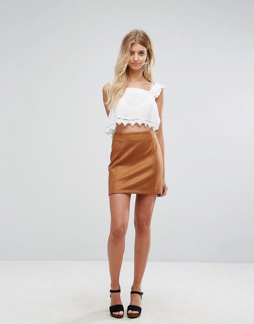 79690d9b5a New Look Tan Suedette Mini Skirt - Tan