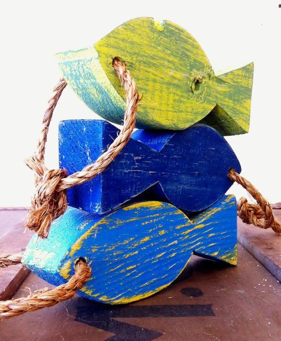 Shabby Chic Wooden Fish Beach Wedding Lake Cottage Hanging ...