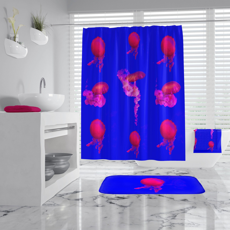 Color Art Jellyfish Shower Curtain Bath Mat Toilet Cover Rug Bathroom Decor