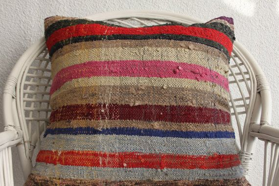Striped Kilim Pillow Bohemian Furniture Outdoor Kissen Turkish