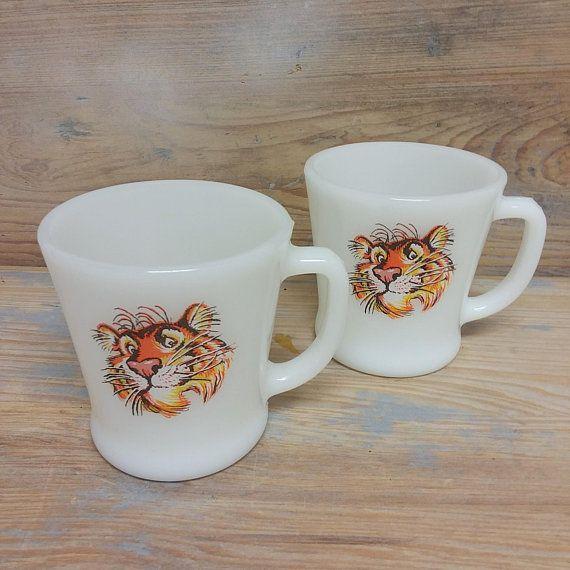 845ea1d73e5 2 Esso/Exxon Tiger Milk Glass Coffee Cups/Mugs Fire King Ware | ETSY ...