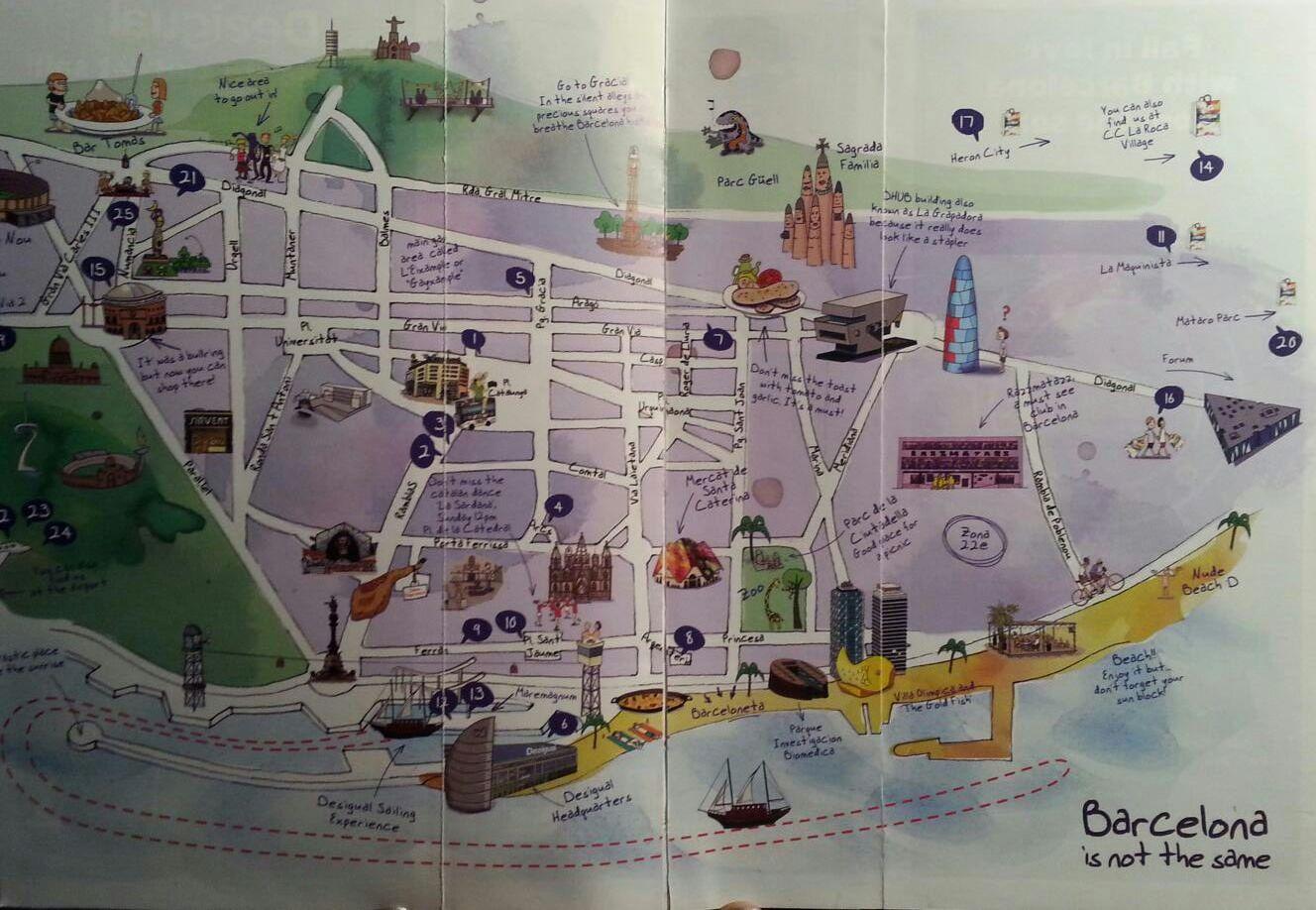 bezienswaardigheden kaart van Barcelona