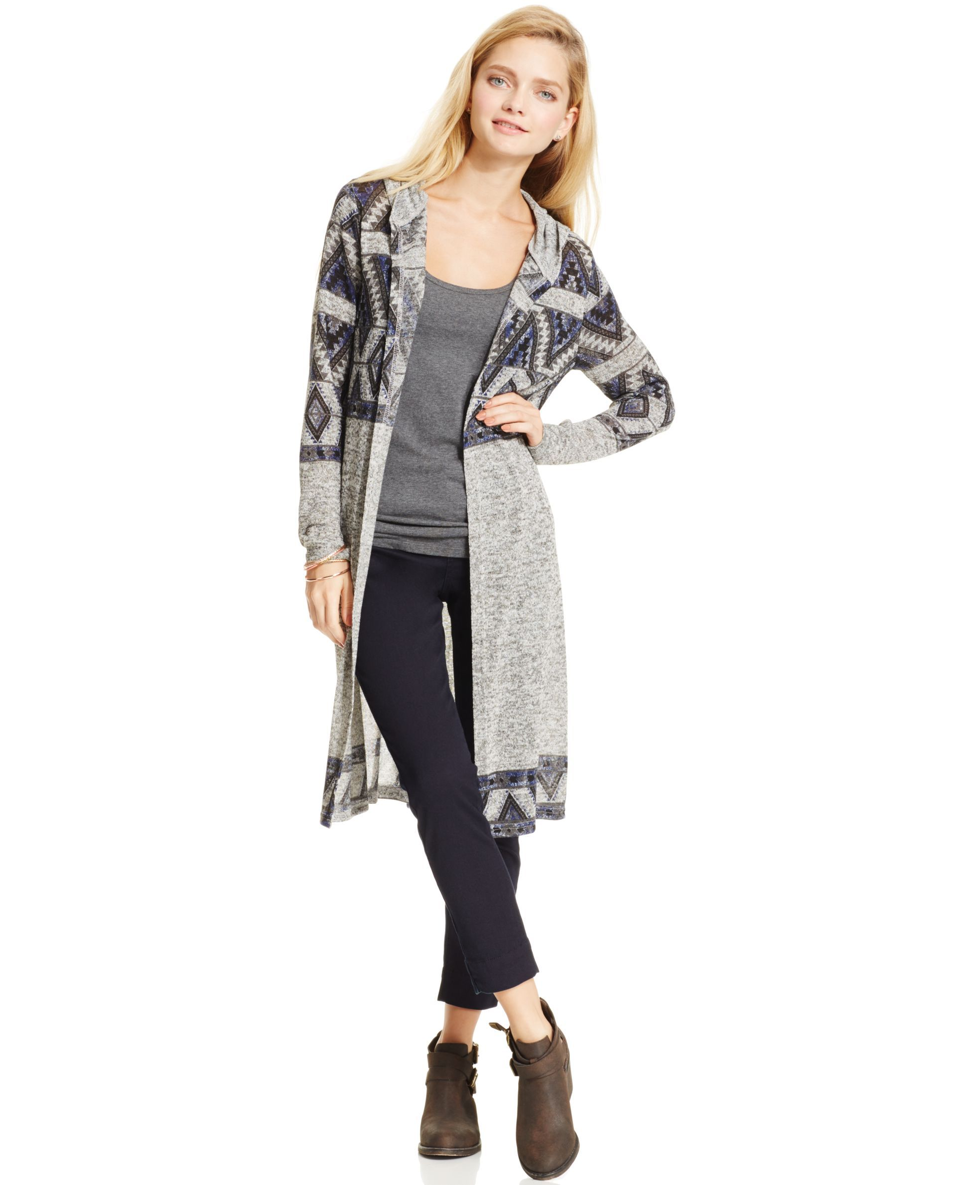 Almost Famous Juniors' Aztec Hooded Duster Cardigan   Products ...