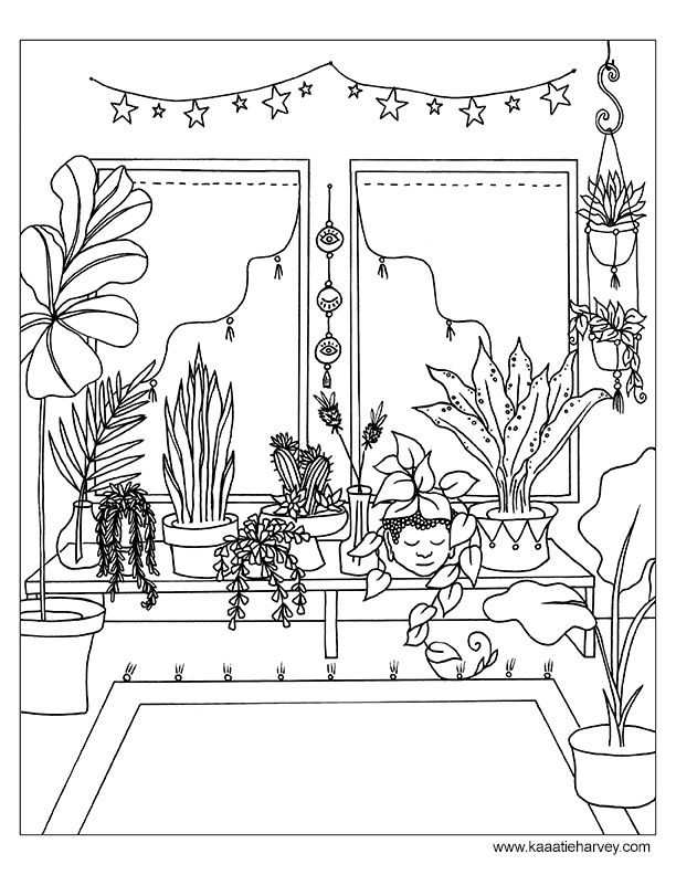 Bohemian Home Coloring Book Page Free Printable