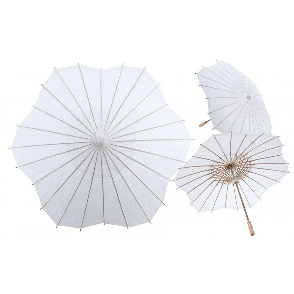 32 White Scalloped Shaped Paper Parasol [247-XL9155-WH Scalloped ...
