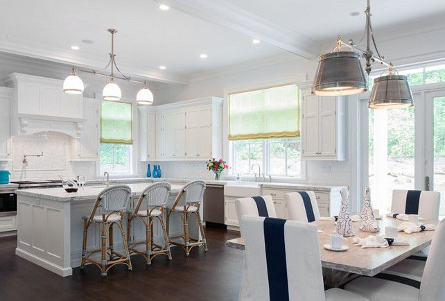 White Kitchen Open To Dining Room. White Kitchen Cabinets. #WhiteKitchen