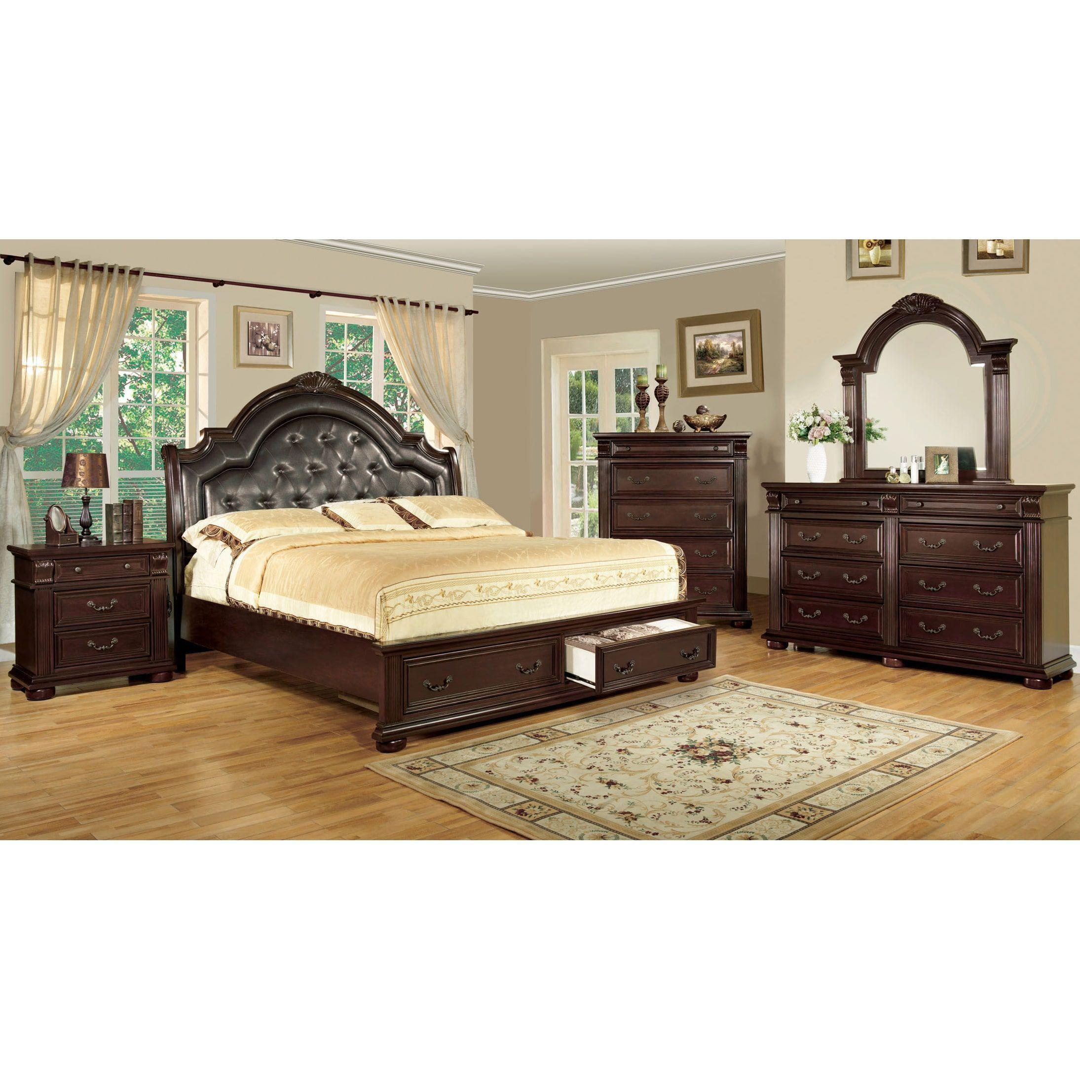 Furniture Of America Lauretta English Style 4 Piece Brown Cherry Platform Bedroom  Set (Queen)