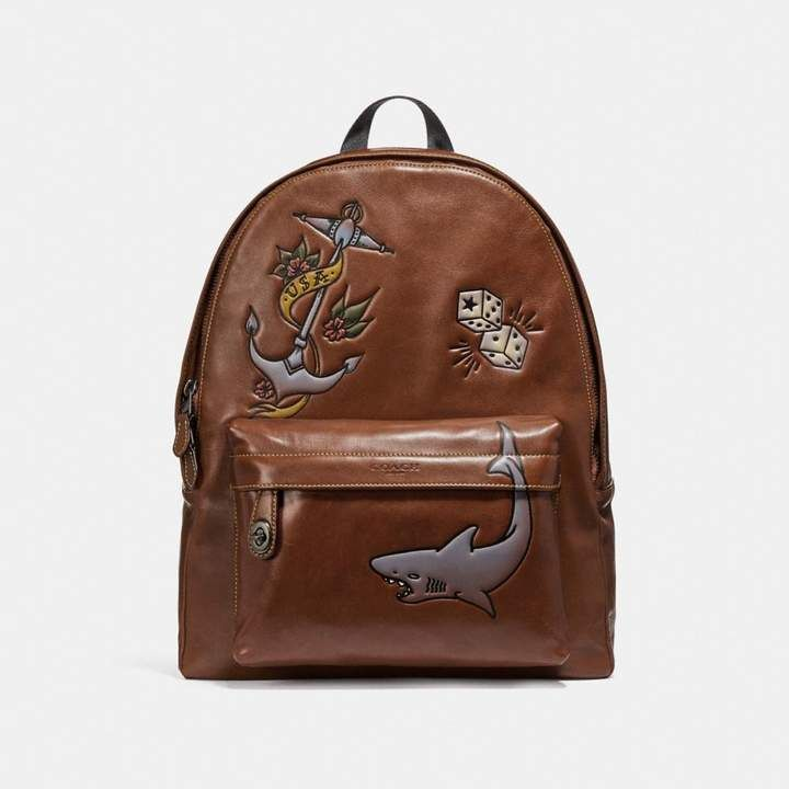 16ea12223ca7 Coach Campus Backpack With Tattoo Tooling with shark and anchor. color brown  leather