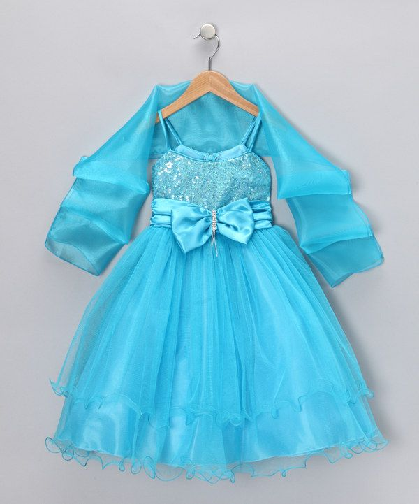 a8e9d8940 Love this Chic Baby Turquoise Bow Dress   Shawl - Toddler   Girls by ...