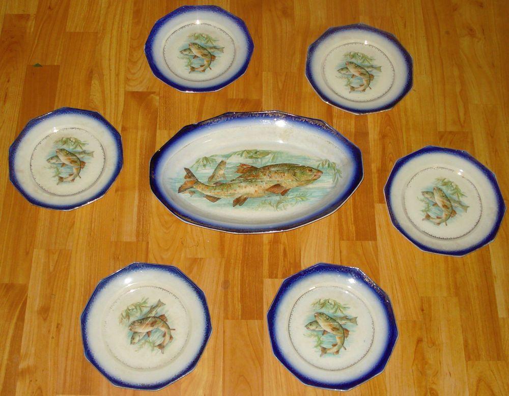 RARE ANTIQUE COBALT BLUE TRIM LIMOGES CHINA RAINBOW TROUT PLATTER 6 FISH PLATES & Rare antique cobalt blue trim limoges china rainbow trout platter 6 ...
