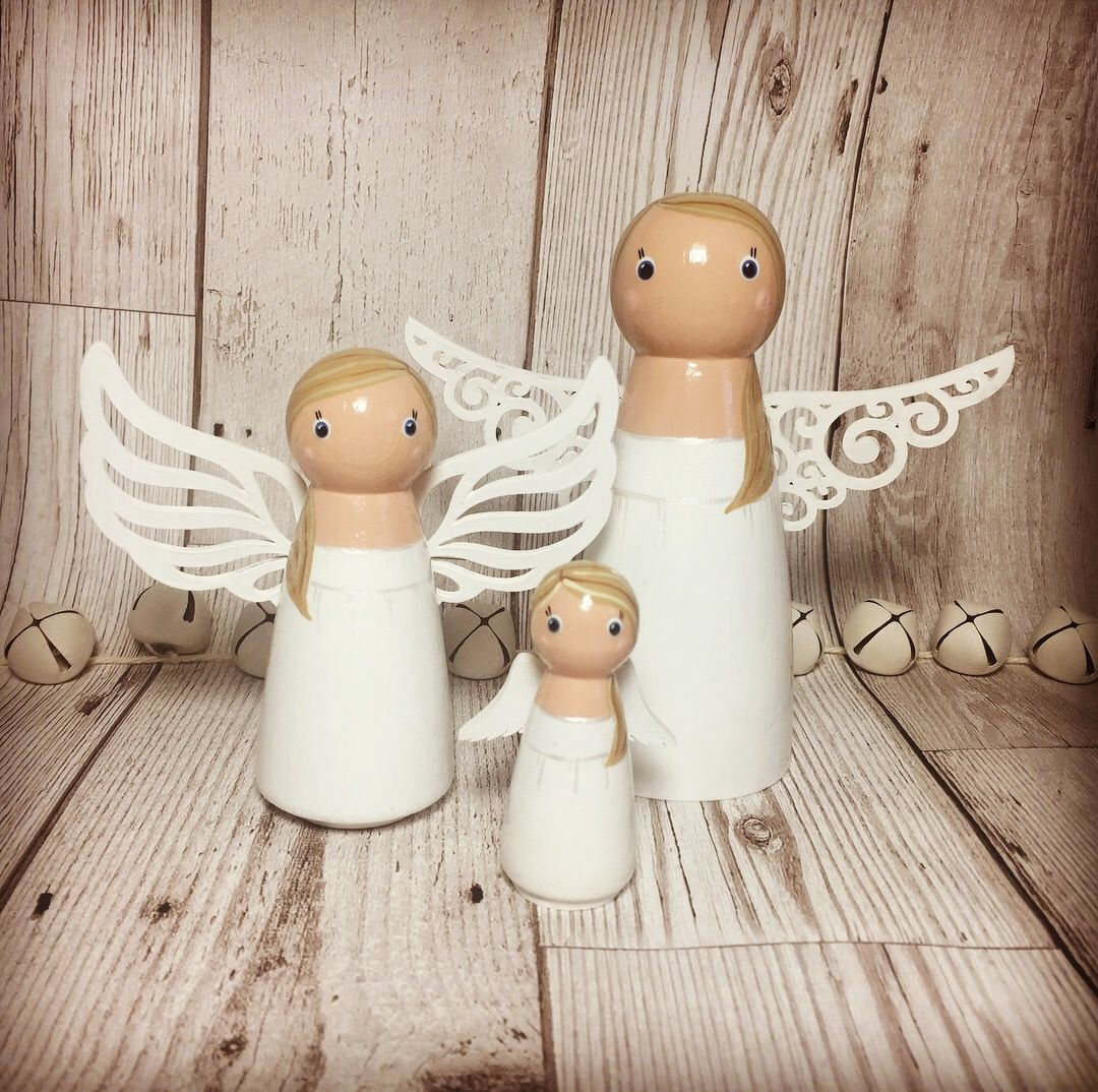 Trio of wooden peg doll angels by Gabe and Penny. Available from Etsy or Facebook from £30