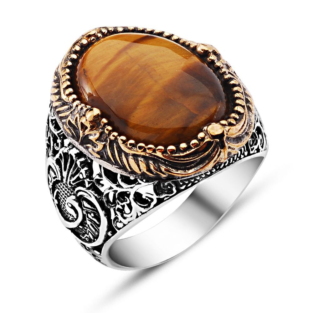 87ab88e58 Tiger's Eye Classic Silver Ring made by 925 sterling silver. Used tiger's  eye stone on