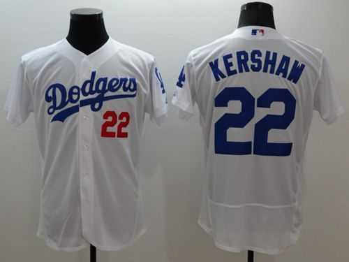 a147bec5f Dodgers  22 Clayton Kershaw White Flexbase Authentic Collection Stitched MLB  Jersey