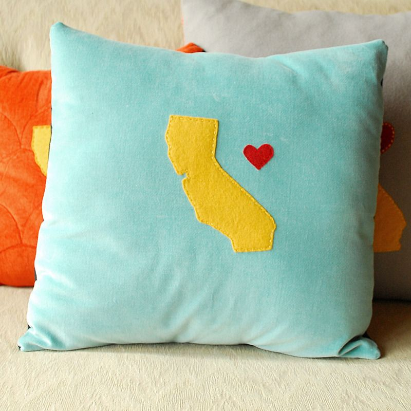 California Love pillow by Minor Thread -- Made with reclaimed materials and hand-cut wool felt.