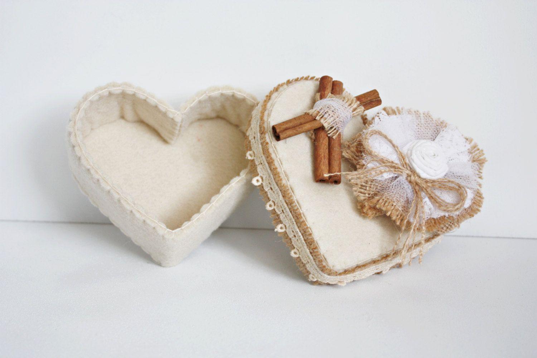Wedding Favours Rustic Wedding Gift Felt Box Felt Ring Holder Candy ...