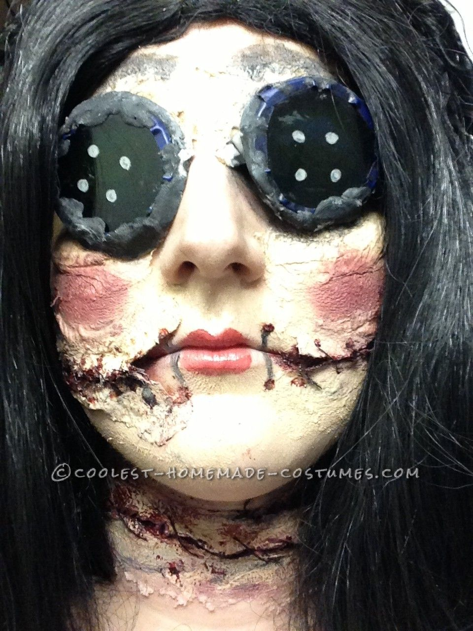 coraline-inspired creepy doll costume | coolest homemade costumes