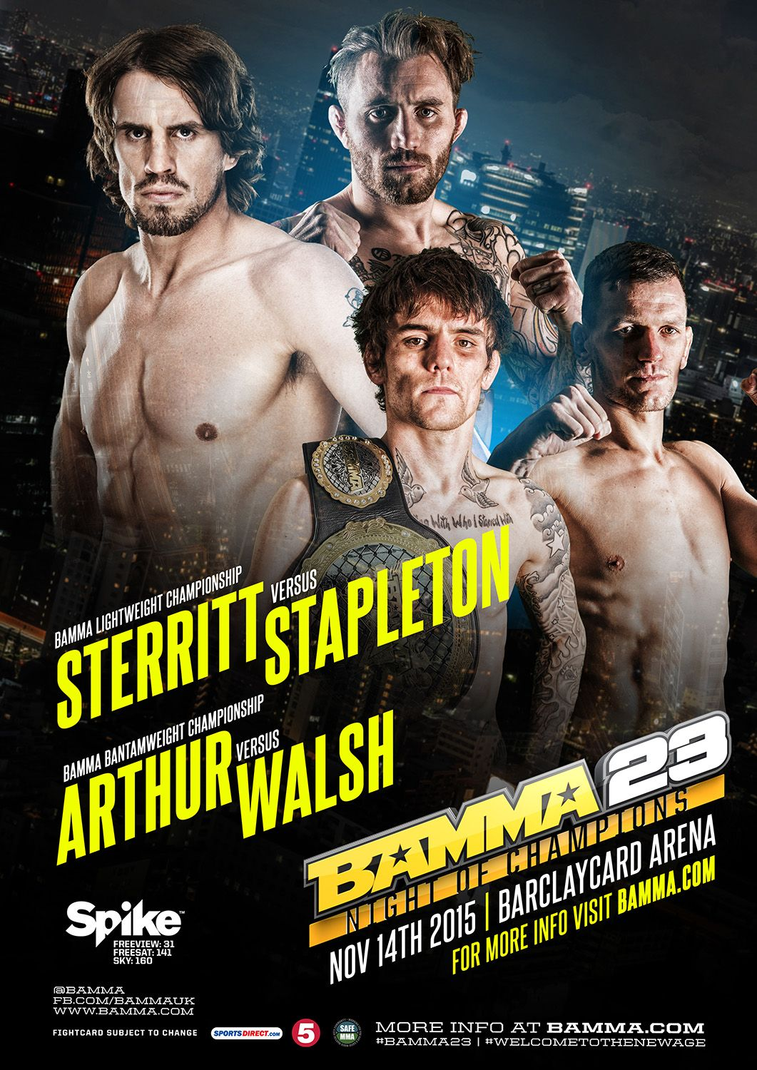 BAMMA 23: Night of Champions Weigh-in Results & Weigh-in