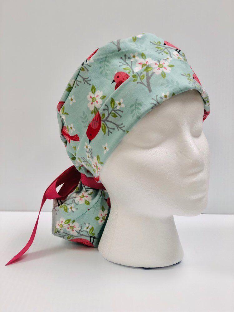 Ponytail Scrub Cap for Women Blue Ribbon Surgical Caps Floral Medallions Scrub Hat Scrub Hats