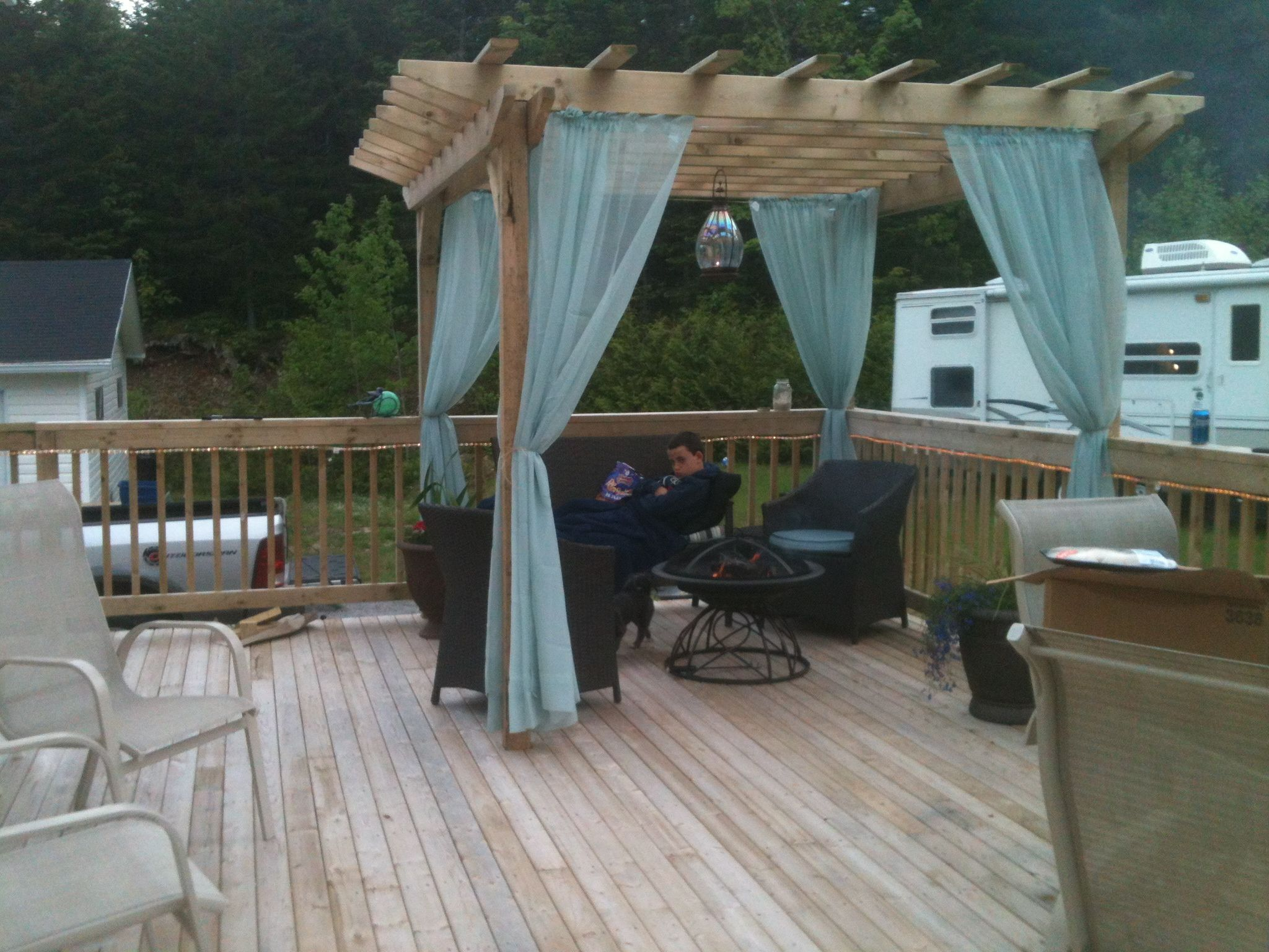 Pergola Curtains For Around The Hot Tub Covered With Plastic Sheet