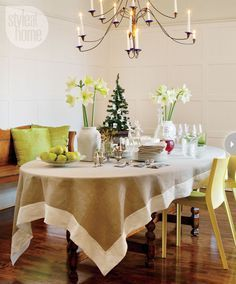 Diy Tablecloth  Stencil On Drop Cloth Or Burlap  Layer On Top Of Custom Dining Room Tablecloths 2018