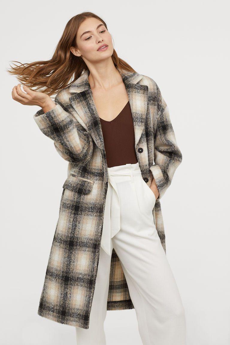 Knee length Coat Beigechecked Ladies | H&M US 1 | Knee