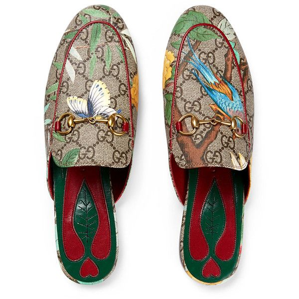 cbd36af59 Gucci Princetown GG Canvas Horsebit Mule Slipper Flat ($695) ❤ liked on Polyvore  featuring shoes, gucci, flat pumps, red flats, gucci footwear and canvas ...
