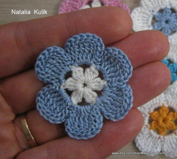 Crochet Small Flowers For Application Scrapbooking Set Of 12 Pieces