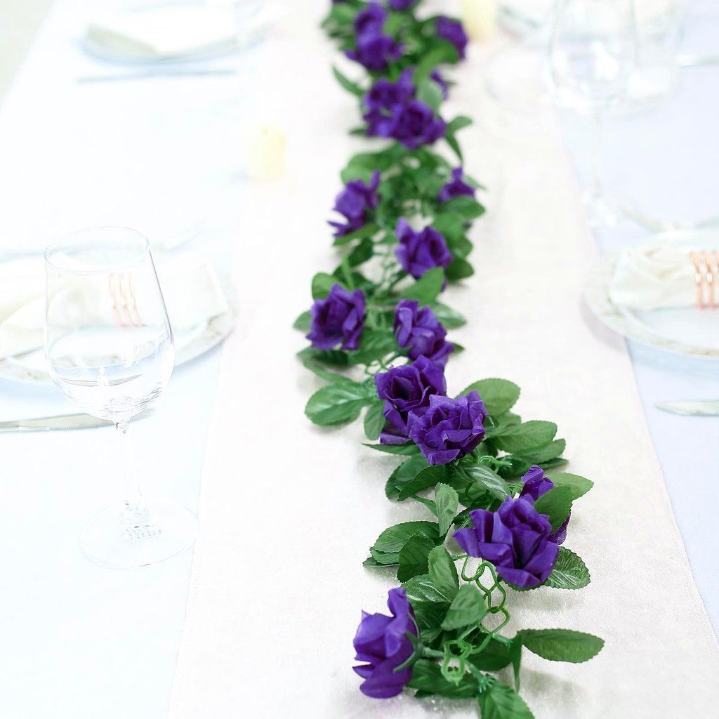 6 Ft Purple Rose Chain Garland Uv Protected Artificial Flower In 2020 Artificial Flowers Purple Roses Artificial Flowers And Plants