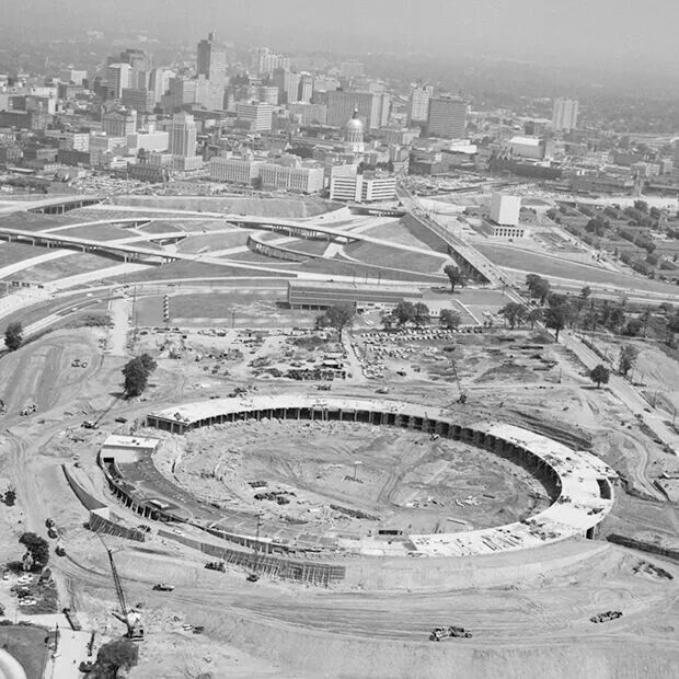 1964 Construction on the Atlanta Fulton County Stadium began 4-15-64