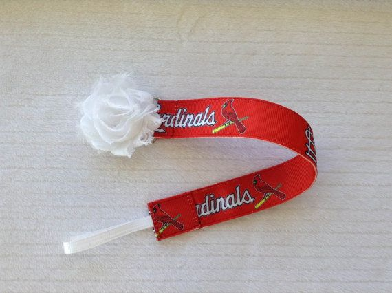 St. Louis Cardinals Baseball Universal Pacifier Clip With Shabby Flower or Enamel Clip for Baby Girl or Baby Boy